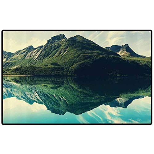 Cottage Decor Collection Mud Room Mat View of Mountain with Sharp Peaks Covered by Short Trees Reflected to a Quiet Lake Picture Funny Doormat Door Mat Decorative Indoor Doormat