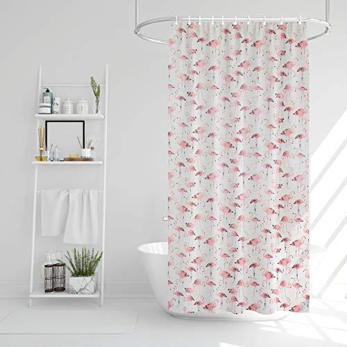 EKNA Duschvorhang 180x200 - Shower-Curtain Flamingo - Antischimmel-Duschvorhang inkl. Duschvorhängeringe