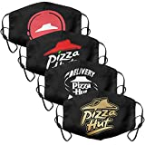 4Pack Women Men Pizza-Hut-Logo-Flash-Gold-Order-Pizza-Online- Mouth Cover Casual Face Mask with Adjustable Ear Loops