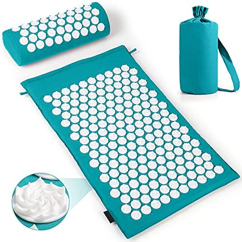 Esterilla Acupresión Kit(Almohada y Cojín) para Acupuntura y Yoga de Masaje para Alivia el Dolor de Espalda y Cuello, Relaja los Músculos (Verde)