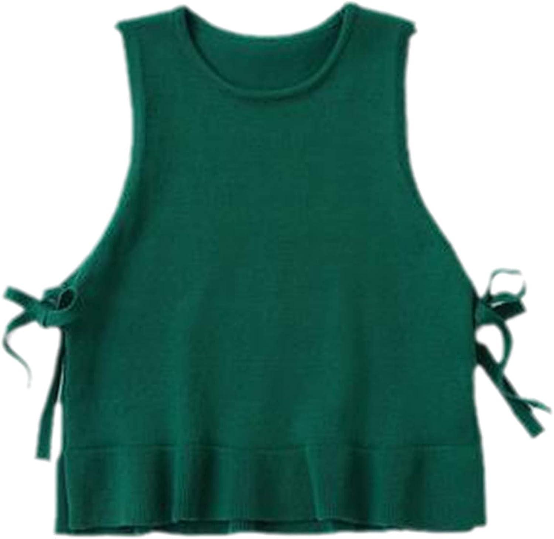 Yiqinyuan Children Knitted Vest Girls Sleeveless Sweater Solid Color Girls Waistcoat
