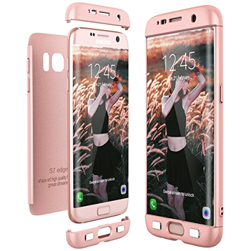CE-Link Cover per Samsung Galaxy S7 Edge 360 Gradi Full Body Protezione, Custodia S7 Edge Silicone Rigida 3 in 1 Samsung S7 Edge - Rosa