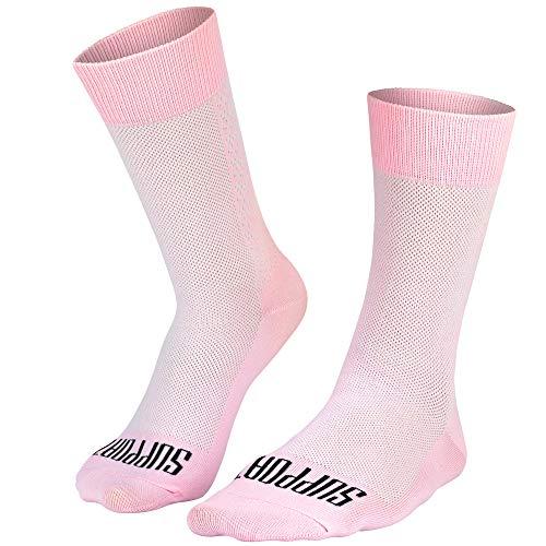 SUPPORT Calcetines de ciclismo superligeros para hombre, tecnología transpirable, fibra antideslizante, unisex, accesorios para ciclista, senderismo, escalada color rosa 42-44 EU