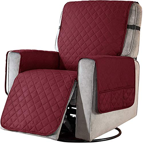 Sesselschoner mit Taschen, Fernsehsessel Schutzbezug Anti-Rutsch, Relaxsessel Sesselauflage Relax,1 Sitzer Sesselauflage für Zuhause mit Kindern und Haustieren Hund ( Color : Wine red , Size : Laege )