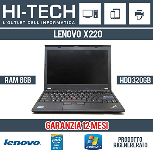 Lenovo Thinkpad X220 Notebook, Processore Intel Core i5, 2.50 GHz