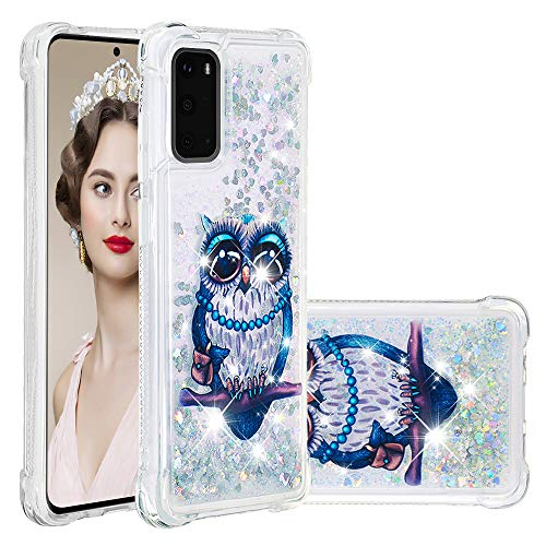 Funda para Galaxy S20 Ultra Girly, Samsung Galaxy S20 Plus 5G/S20 Quicksand Case protector líquido Bling híbrido resistente a los golpes suave cubierta de goma (Galaxy S20 Plus, gato gris)