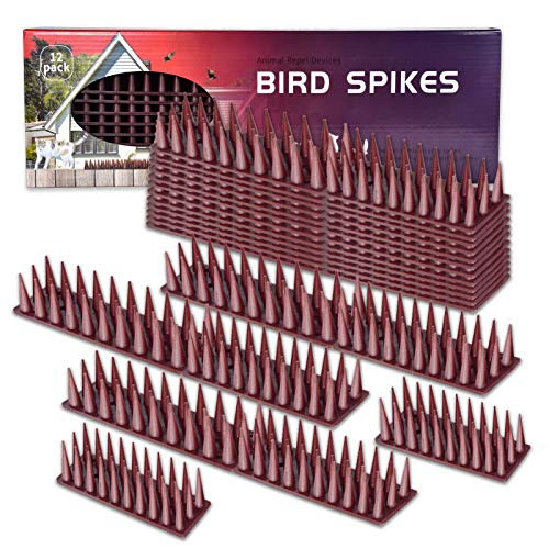 Defender Spikes, Cat and Bird Repellent Fence Spikes, Plastic Deterrent Anti Theft Climb Strips to Keep Roosting Pigeons Racoons Awa