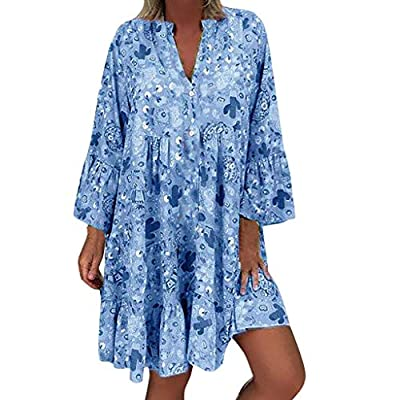 Aniywn Women Ruffle Pleated Dress, Summer Plus Size 3/4 Sleeve Loose Print Beach Mini Dresses