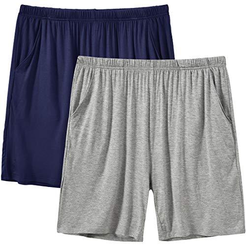 MoFiz Mujer Pantalones Cortos Pijama Suave Modal Verano Shorts con Bolsillos 2 Pack-03 XXL