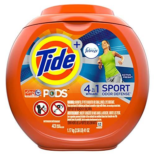 Tide PODS + Febreze 4 in 1 Odor Defense Active Fresh Scent Laundry Detergent Pacs - 43 ct