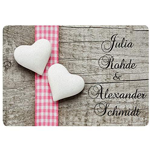 Personalisierte Fußmatte (Romantik): Fußmatten im Landhausstil mit Namen Bedrucken - Geschenkidee zur Hochzeit mit Personalisierung