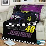 Concord Auto Motorsports Throw Blanket Cool Graphic of Driver and Number 48 Stock Car Soft and Warm Fleece Blanket 60×80 Inches