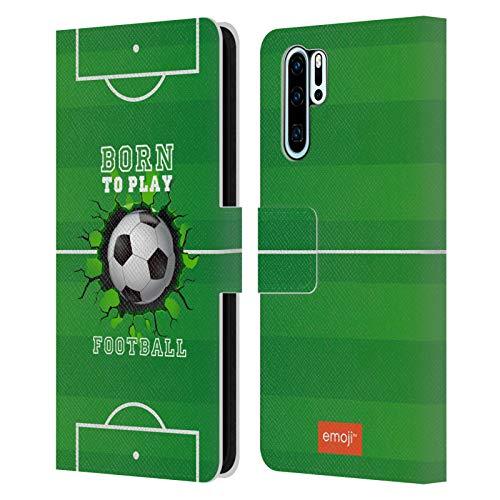 Head Case Designs Licenciado Oficialmente Emoji® Nacido para Jugar Copa Mundial Carcasa de Cuero Tipo Libro Compatible con Huawei P30 Pro