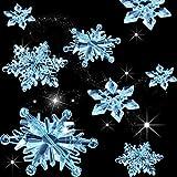 35 Piezas Adornos de Copos de Nieve de Cristal Acrílico Transparente Colgante de Árbol de Navidad DIY Decoración de Navidad (Transparente Azul Claro)