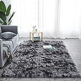 alfombras Salon Grandes - Pelo Largo Alfombra habitación Dormitorio Lavables Comedor Moderna vivero (Negro con Estampado, 160 x 230 cm)