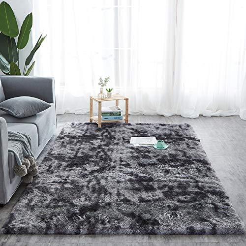 Amazinggirl Hochflor Teppich wohnzimmerteppich Langflor - Teppiche für Wohnzimmer flauschig Shaggy Schlafzimmer Bettvorleger (160 x 230 cm, Schwarz mit Muster)