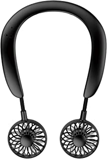 TOAMIT 首かけ扇風機 冷感ネックファン 携帯扇風機 卓上ファン 冷却プレート付き 手持ち扇風機 USB充電 ハンズフリー 超長時間作動 角度調整可能 静音 風量調節 ブラック (自社出荷-黒)