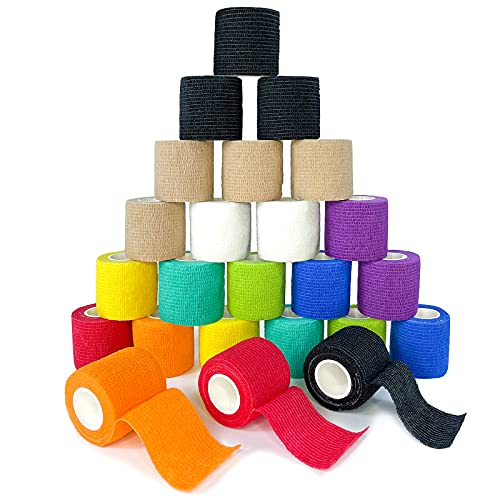 [24Pack 2'x5 Yards] Self Adhesive Bandages Vet Wrap, Pre Wrap Tape Athletic Cohesive Bandage for...