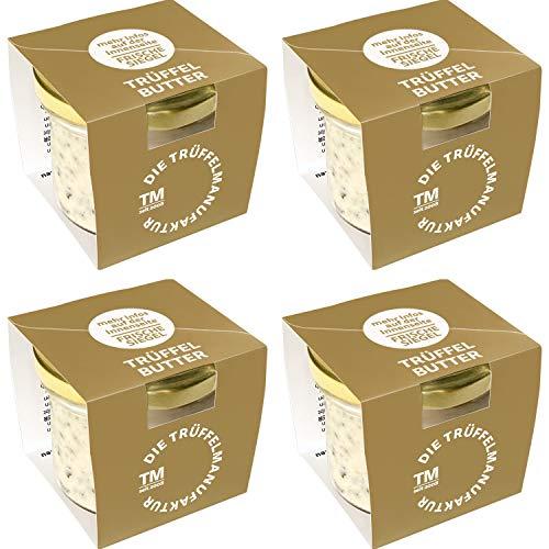 Die Trüffelmanufaktur - Feinkost 4er Set Trüffelbutter mit 15{1437e8cf411fb78c1e173e4bb279263abda55fb3418ad81de3f281a4bdf94bbe} echtem frischen schwarzem Trüffel, die Delikatesse für Feinschmecker, weiße Trueffel-Butter im Glas á 95 g, Vorratspack 360 g