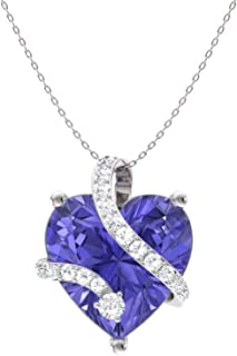 Diamondere Natural and Certified Heart Cut Gemstone and Diamond Wrap Heart Petite Necklace in 14k White Gold | 1.68 Carat Pendant with Chain