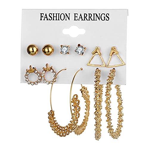 FEARRIN Pendientes Anillos de Moda Pendientes de Perlas Vintage para Mujer Cruz de Oro Conjunto de Pendientes Borla Larga Mariposa Pendientes Colgantes Joyería H97-ZL1709-2
