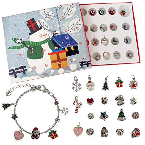 Kobay 2020 Adventskalender Frauen Schmuck 24 Schmuckkalender Weihnachtskalender Mädchen Halskette Ringe Ohrringe Armbänder