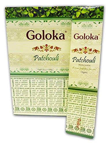 GOLOKA - Bastoncini di incenso, Aroma: Patchouli Masala, Confezione da 15 12 Confezioni