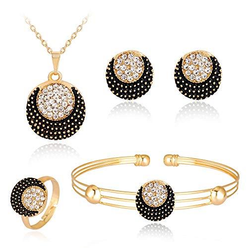 LPZW Anillo de la Pulsera de la Cadena mensual de la Cadena de Goteo Negro Anillo de la Pulsera de Cuatro Piezas del Paquete de la joyería del Collar Exquisito (Color : A)