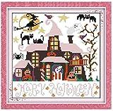 Punto de cruz Kit Bordados para niños y adultos Bordado de cabaña de Halloween,16 x 20 pulgadas DIY costura punto de cruz set decoración de pared principiante(11CT)