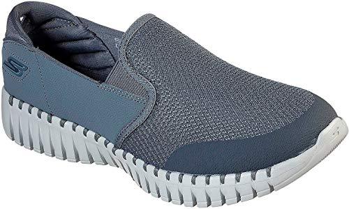 Skechers Men's GO Walk Smart - Vetiver Slip On Walking Sneaker, Charcoal/Gray, 10.5
