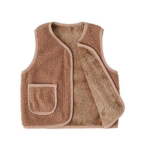 Chaleco de forro polar con bolsillos, chaqueta sin mangas de invierno cálida con cremallera hasta el chaleco 0-6T, caqui, 1-2 Años