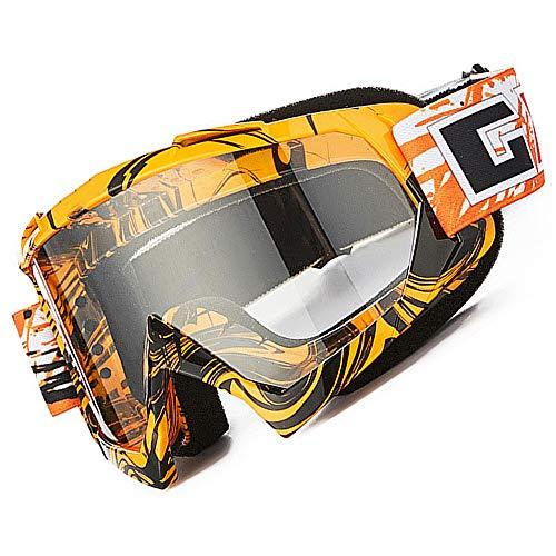 Gafas de motocross, Motocicleta Anti viento Polvo UV Dirt Bike Racing Riding Ciclismo Esquí Gafas al aire Libre Gafas para adultos jóvenes (Marco naranja + Lente transparente)