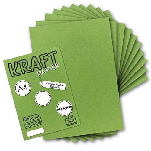 50x Vintage Kraftpapier in Hellgrün - DIN A4 21 x 29,7 cm - 210 x 297 mm - 240 g/m² natur-Hellgrünes Recycling-Papier, 100% ökologisch Bastel-Karton Einzel-Karte UmWelt by GUSTAV NEUSER®