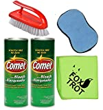 Comet Cleaner Total Kitchen and Bathroom Cleaner Kit - Two 21 Oz Canisters Comet Cleanser Powder with Bleach - Tough Scrub Sponge - Scrub Brush - Foxtrot Microfiber Towel