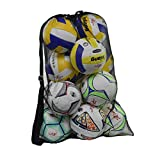 Rudmox Heavy Duty Mesh Ball Bag,Drawstring Sport Equipment Storage Bag for Basketball, Soccer, Sports Beach and Swimming Gears with Adjustable Shoulder Strap for Adults and Kids (Black-XL)