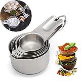 JF Room Premium Edelstahl Messlöffel Set mit 7 Stück Messbecher und Löffel mit Messlineal-Kochen Backen Küche für Trockene und Flüssige Zutaten