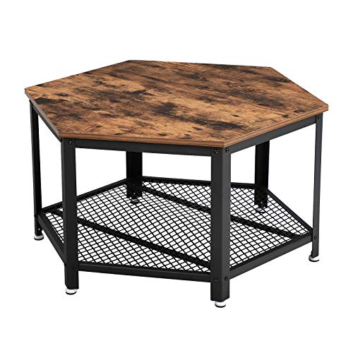 VASAGLE Vintage Wohnzimmertisch, Couchtisch, Kaffeetisch, fürs Wohnzimmer oder Büro, stabil, mit Metallgestell und Gitterablage, hexagonal, Holzoptik LCT16X