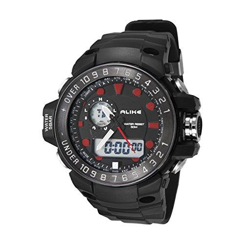 Alike AK15112 5ATM Impermeable para Hombre Digital analógico Dual Time Display Reloj Deportivo con Fecha/Alarma / cronómetro/Count Down/luz de Fondo/Rubber Band (Rojo)