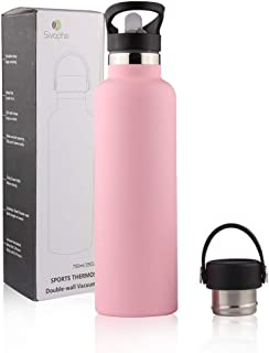 Sivaphe 25oz Stainless Steel Sport Water Bottle with Straw and 2 Lids, Double Wall Vacuum Insulated Water for Traveling Ca...