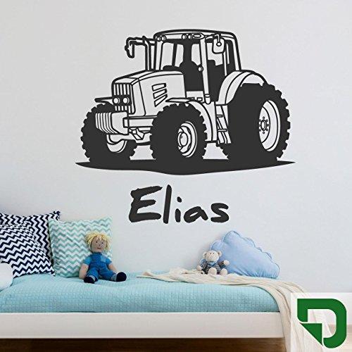 DESIGNSCAPE® Wandtattoo Traktor mit Wunschname   Wandtattoo Junge Kinderzimmer 60 x 40 cm (Breite x Höhe) grasgrün DW808182-S-F27