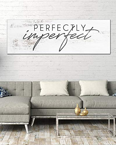 FADALO ART Aesthetic Canvas Wall Art Cream White Background Art Prints for Living Room Bedroom Wall Decor Perfectly&Imperfect Quotes Poster Framed Painting Modern Artwork Picture Home Decoration 8'x24'