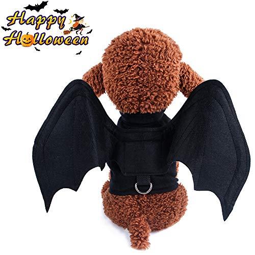 Halloween Hund Katze Kleidung Verkleidungen Cosplay Spinne Fledermaus, Morbuy Winter Haustier Lustiger Kostüm Set für Party Deko Bekleidung Hüte Haaraccessoires Dressing Up (L,Fledermaus)