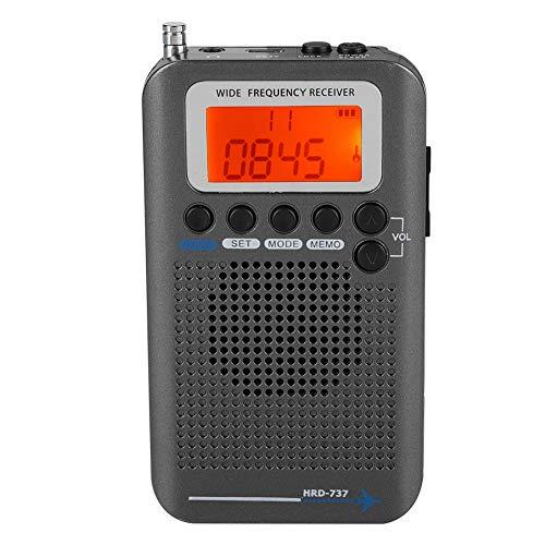 Garsent Tragbares Radio, Flugzeug Band Radioempfänger VHF Tragbarer voller Band-Radio-Recorder Taschen Reise Transistor Radio Stereoempfänger.(schwarz)