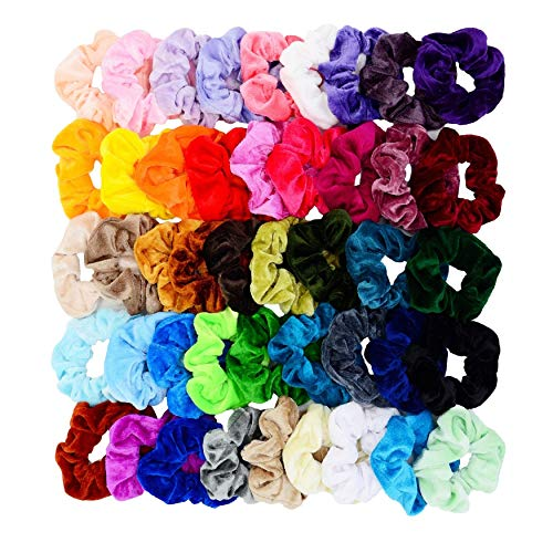 Chloven 45 Pcs Hair Scrunchies Velvet Elastics Hair Bands Scrunchy Hair Tie Ropes Scrunchie for Women Girls Hair Accessories- 45 Assorted Colors Scrunchies