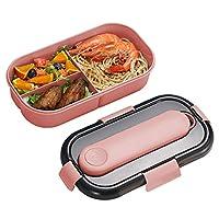 zoneyan lunch box con 3 scomparti, bento box scuola pranzo, porta pranzo contenitori per microonde, bento box con posate, bento box con 3 pratici scomparti (blu e rosa) (rosa)