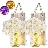 Wall Sconces Mason Jar Sconces Rustic Wall Decor with LED Fairy Lights Flowers Iron Hooks, Warm White and Multi Color (2 Pack)