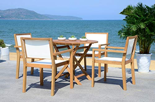 Safavieh PAT7041A Collection Chante Teak 35.4' Round Table 5 Piece Outdoor Dining Set