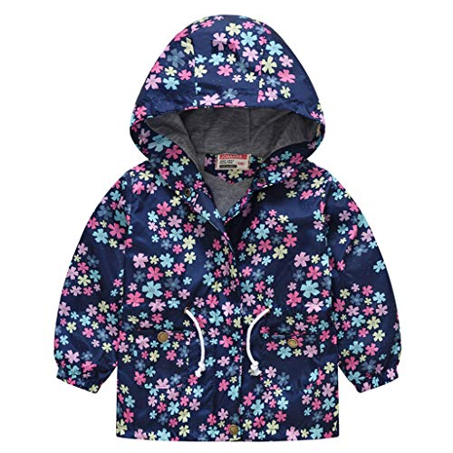 Shan-S Children's Windbreaker,Fashion Autumn Winter Toddler Kid Baby Girls Boys Long Sleeve Elastic Waistband Floral Love Star Print Hooded Zipper Wind Windproof Coat Outwear Clothes Pocket Jacket