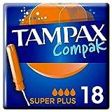 Tampax Compak Super+ Tampones con aplicador 18x, protección contra fugas y discreción, tacto...
