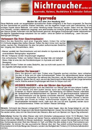 Nichtraucher werden mit Ayurveda, Kalmus, Bachblüten & Schüssler-Salzen /Medical Card